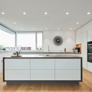 Küche und Wohnen in Holz und Weiß