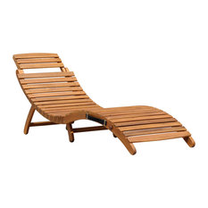 Charles Bentley & Son Ltd - Charles Bentley Large Folding Curved Reclining Wooden Sun Lounger Patio Sunbed - Sun Loungers