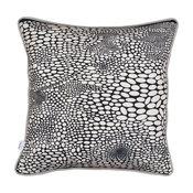 Square Circles Cushion Covers, Black, Set of 2