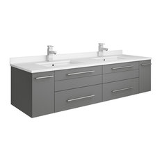 Lucera Wall Hung Cabinet With Top & Double Undermount Sinks, Gray, 60""