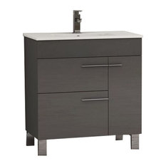 """Cup Modern Bathroom Vanity With Integrated Sink, Gray, 24"""""""