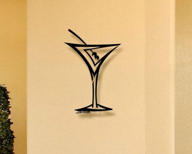 Straight Martini Metal Wall Art Home Decor