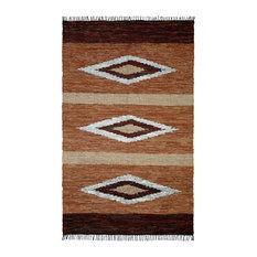 Brown Matador Diamonds Leather Chindi Rug, 8'x10'