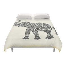 Boho Ornate Elephant Duvet Cover, Queen