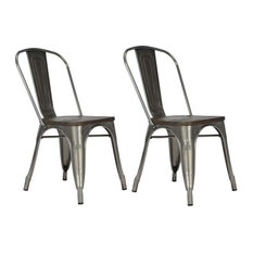 DHP   Fusion Metal Dining Chairs With Wooden Seats, Set Of 2, Antique  Gunmetal