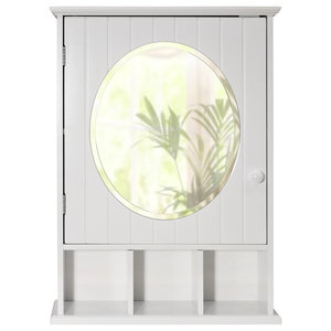New England Mirrored Bathroom Wall Cabinet With Shelf, White