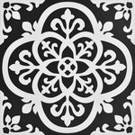 FloorPops - Gothic Peel & Stick Floor Tiles - Make a statement with these bold black and white floor tiles. The gothic-style motif is simply stunning. Gothic Peel & Stick Floor Tiles contains 10 pieces on 10 sheets that measure 12 x 12 inches. Peel and stick to apply