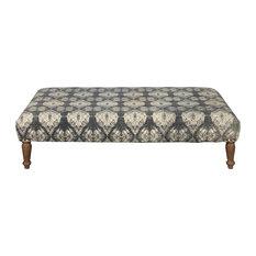 Rectangular Upholstered Ottoman, Shibori Gray Pattern