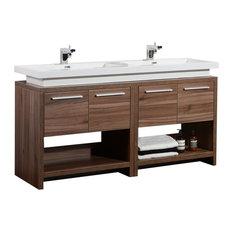 "Aquamoon Sparta 63"" Walnut Double Sink Modern Bathroom Vanity Set"