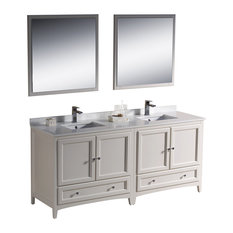 "Fresca Oxford 72"" Traditional Double Sink Bathroom Vanity, Antique White"