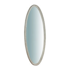 Antique Wall Mirror, White, Oval, 50x135 cm