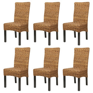 vidaXL Abaca Dining Chairs, Brown, Set of 6
