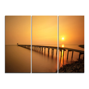 """""""Old Wooden Pier Long to Evening Sea"""" Wall Art, 3 Panels, 36""""x28"""""""