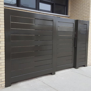 Rolling steel pedestrian / privacy gate and fence with mailbox