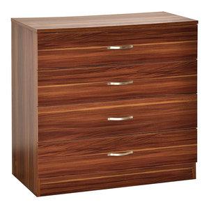 Vida Designs Walnut Riano Bedside Table, 4 Drawers
