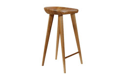 Tractor Carved-Wood Bar Stool, Walnut
