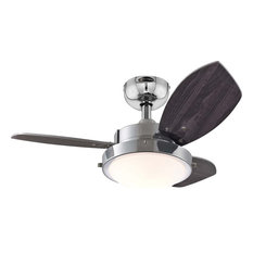 """Westinghouse Wengue Ceiling Fan With Light, Chrome, 30"""""""
