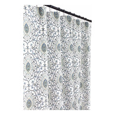 Floral Damask Fabric Shower Curtain: Printed Medallion, Blue