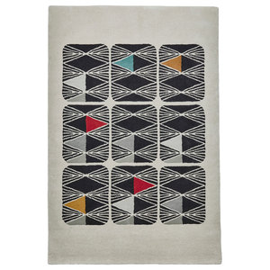 Inaluxe Grey and White Rectangular Funky Rug, 150x230 cm