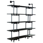 Furniture Pipeline - Eugene Modern Bookcase, Black Steel/Dark Brown - Amp the aesthetics and functionality of your office or living space with this wall mounted pipe bookcase featuring a lightweight modern and industrial vintage design. Each component of the Eugene 5-Shelf Pipe bookcase/etagere is expertly crafted from the finest materials  including aircraft grade recyclable aluminum and sustainable reclaimed/aged finished solid Paulownia (looks like oak  lifts like cardboard!) wood. You'll love the ease of assembly and the edgy style this purposeful pipe bookcase brings to your interior spaces! This bookcase/etagere is lightweight and durable  easy to move around as needed  arriving at your doorstep with 100% recyclable packaging for a lifetime of enjoyment! Our modern industrial bookcases are available and ready for drop shipping  wholesale and B2B commercial accounts.