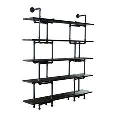 Furniture Pipeline - Eugene Modern Bookcase, Black Steel/Dark Brown - Bookcases