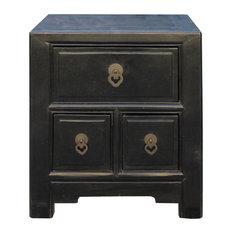 Oriental Distressed Black 3 Drawers End Table Nightstand Hcs4574