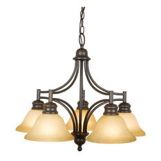 Design House 504167 5 Light Down Lighting Chandelier with Tea Speckled Glass fro