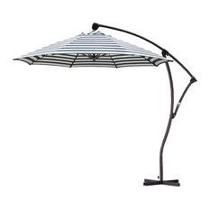 9' Cantilever Market Umbrella Crank Lift, Bronze, Olefin, Navy White Stripe