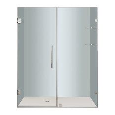 """Aston Nautis Frameless Hinged Shower Door, Glass Shelves, Chrome, 64""""x72"""""""