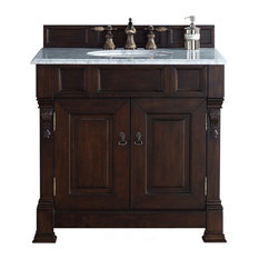 "Brookfield 36"" Burnished Mahogany Single Vanity 2CM Galala Beige Marble Top"