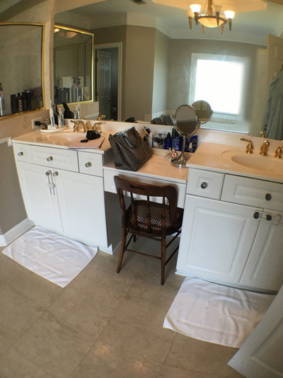 Room of the day a classic look freshens up a master bath for Classic home designs inc