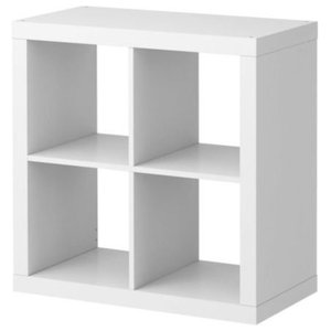 Modern Display Shelving Unit in White Painted MDF with 4 Open Compartments