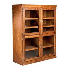 Traditional Alder Bookcase with Glass Doors, Chestnut Oak, 48h