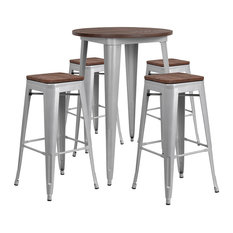 30-inch Round Silver Metal Bar Table Set With Wood Top And 4 Backless Stools