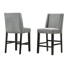 "Carolina Classics Laurant Upholstered 24"" Wood Counter Stool in Gray (Set of 2)"