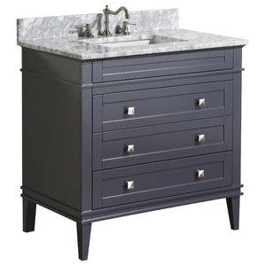 "Eleanor Bathroom Vanity, Charcoal Gray, 36"", Carrara Marble Top"