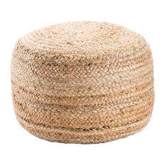 "Jaipur Handmade Jute Taupe/Tan Pouf (18"" x 18"" x 12"")"