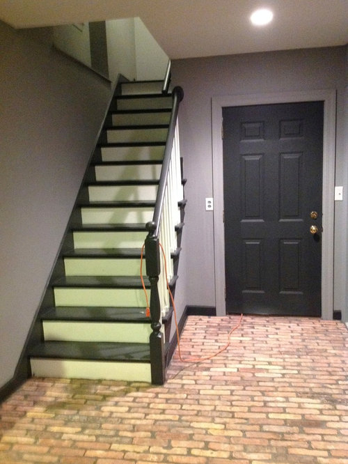 Best basement with brick floors and gray walls design for Farmhouse basement