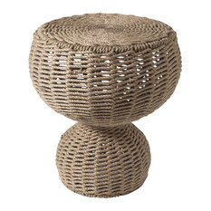 Luxe Round Woven Large Rope Accent Table, Organic Style Coastal Gourd Sculpture
