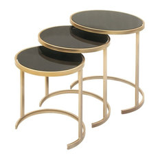 Metal and Glass Tables, 3-Piece Set, Black, Gold