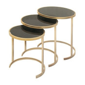 Marie Metal and Glass Nesting Tables, Set of 3