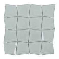 """11.94""""x11.94"""" Quattrofolio Glass Beveled Mosaic, Set of 4, Inconspicuous"""