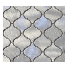 "Cosmo Brushed Aluminum Arabesque Mosaic Tile, Chip Size: 2""x2"", 12""x12"""