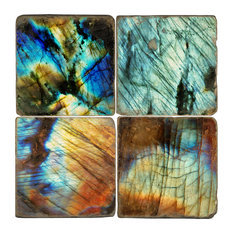 Tumbled Marble Coaster St/4 With Coaster Stand, Labradorite