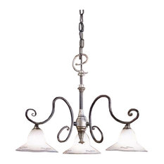 Country Line 1842 Chandelier, Graphite And Silver, Satin White and Brick Red