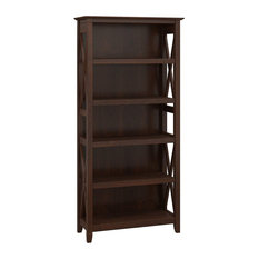 Bookcase Reclaimed Wood With X-Shaped Frame And 5 Storage Shelves Cherry