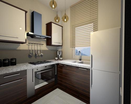 Progetto in 3D per la realizzazione di una piccola cucina angolare ...