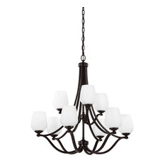 Feiss 9-Light Chandelier, Heritage Bronze