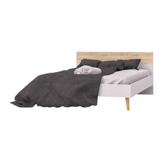 Diana Queen Bed, White/Oak Structure