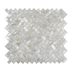 "White Herringbone Pearl Shell Tile, 10.63""x11.3"" Sheets, Set of 11"